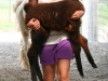 Girl carrying a brown cria