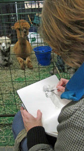 Each year we commit to introducing newcomers to alpacas - sometimes inspiring art!