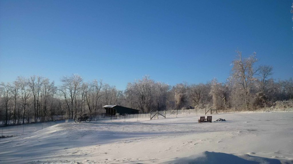 farm, landscape, winter, ice