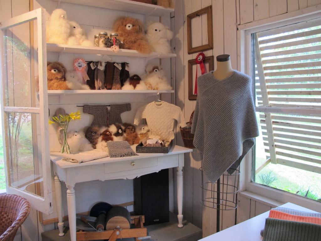 A shop filled with alpaca products.