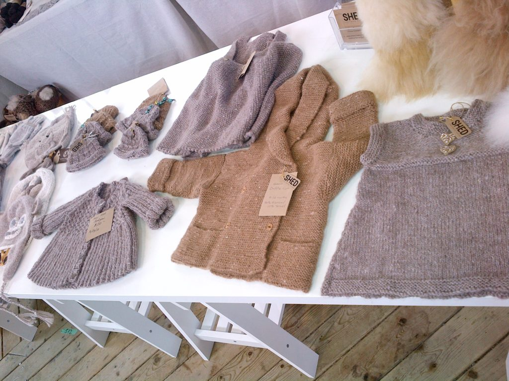 Alpaca sweaters, hats, mitts and teddy bears.